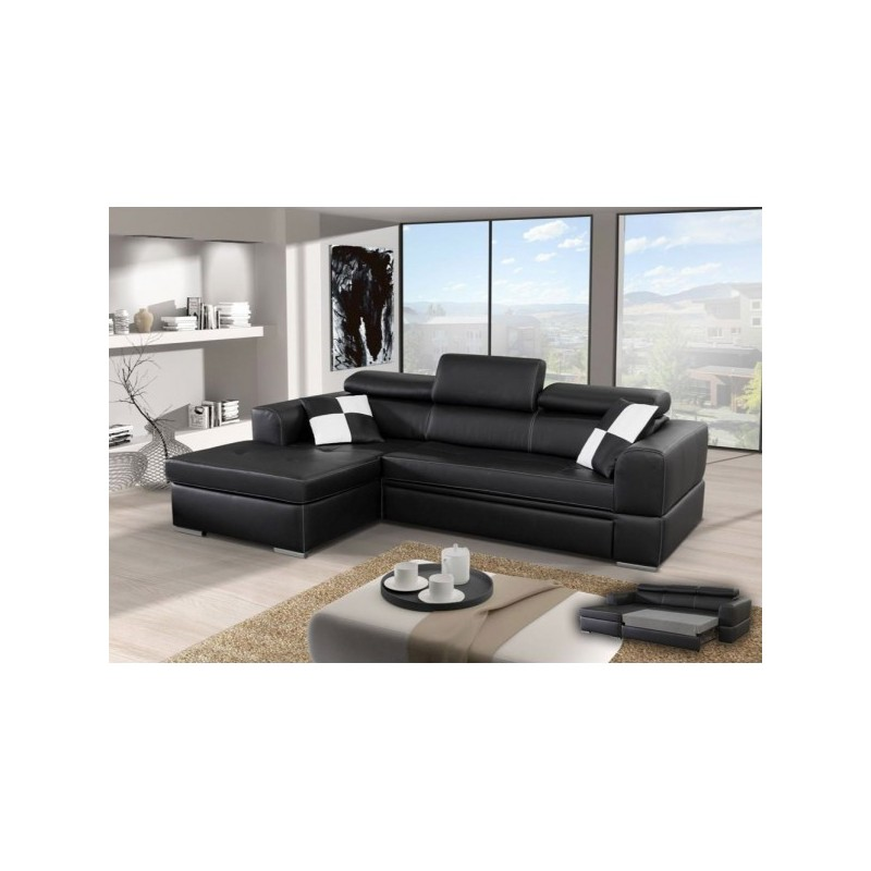 canap d 39 angle convertible 4 places neto microfibre simili cuir. Black Bedroom Furniture Sets. Home Design Ideas