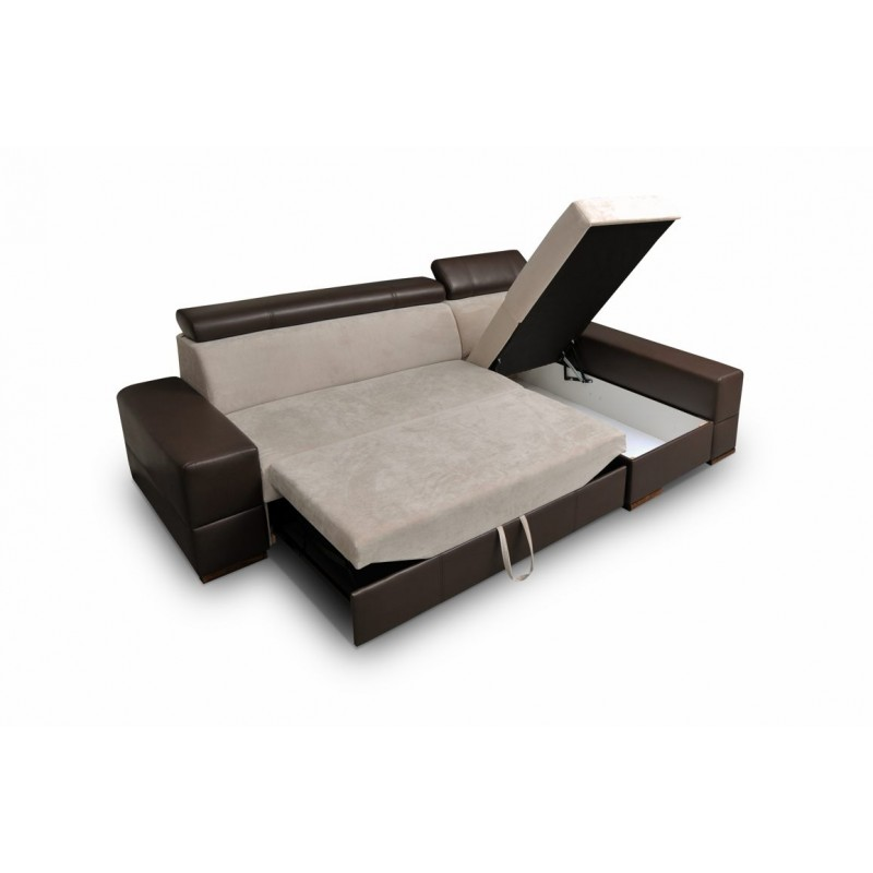 canap d 39 angle convertible capri avec son pouf et coffre de rangement. Black Bedroom Furniture Sets. Home Design Ideas