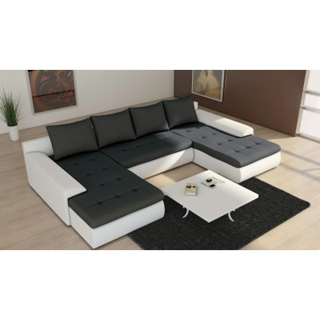 canap d 39 angle convertible avec double meridienne noir et blanc joyu. Black Bedroom Furniture Sets. Home Design Ideas