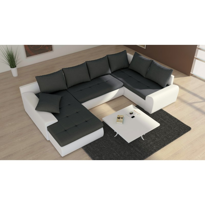 canap d 39 angle convertible en u 7 places joyu tissu et ska. Black Bedroom Furniture Sets. Home Design Ideas