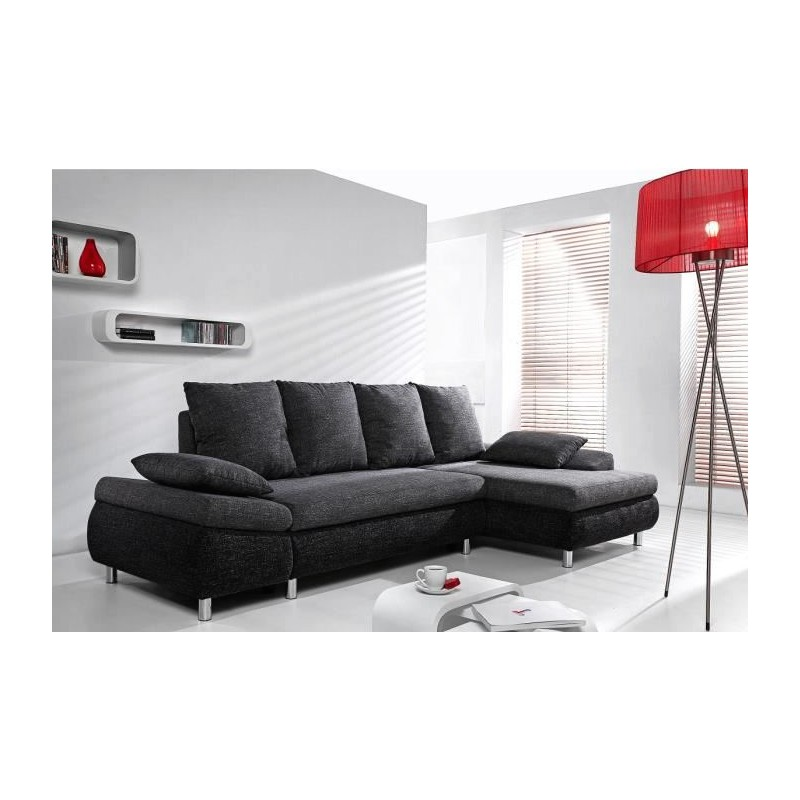 canap d 39 angle convertible avec coffre de rangement milo tissu design. Black Bedroom Furniture Sets. Home Design Ideas