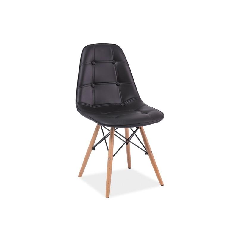 Chaise scandinave dsw axel aspect boutonn en simili cuir for Chaise dsw noir