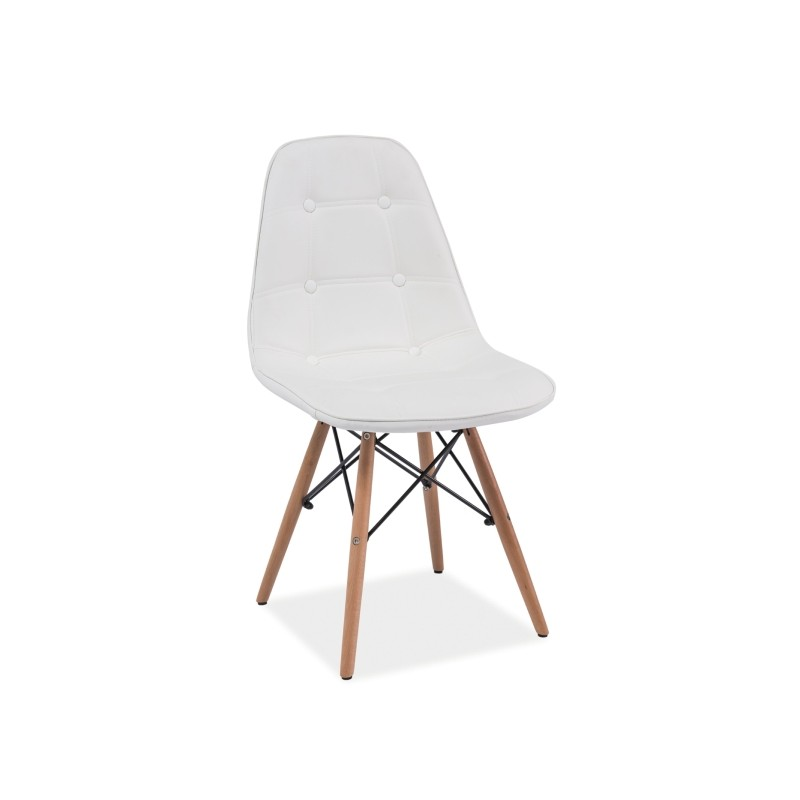Chaise scandinave dsw axel aspect boutonn en simili cuir for Chaise scandinave