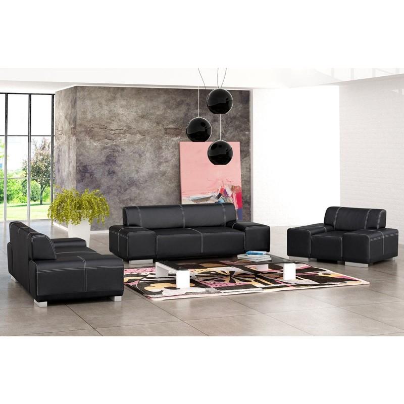 Ensemble de canap s 3 2 1 flavio en simili cuir noir ou marron - Ensemble fauteuil canape ...