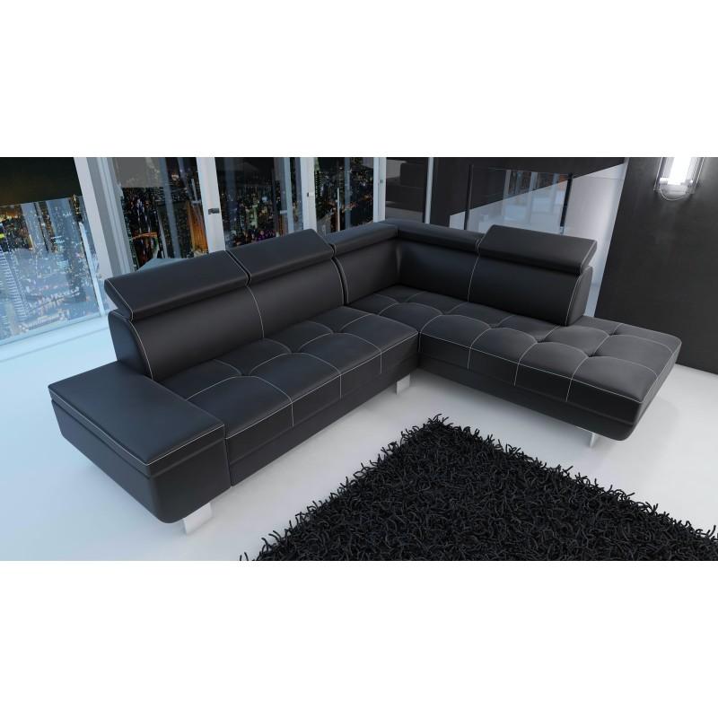 Canap d 39 angle moderne daylon simili cuir noir et coutures - Canape d angle noir simili cuir ...