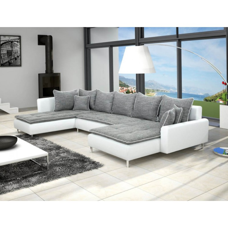 grand canap en u de 6 places dante en tissu et simili cuir gris et blanc. Black Bedroom Furniture Sets. Home Design Ideas