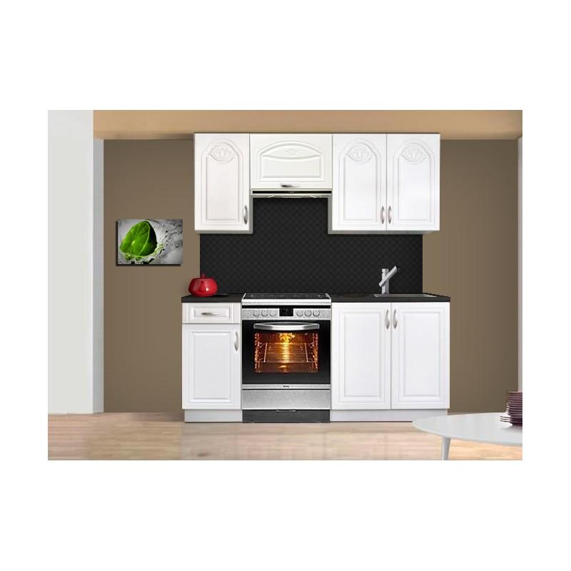 Cuisine compl te de 180 cm blanche avec moulures dina - Mini cuisine pour studio ...