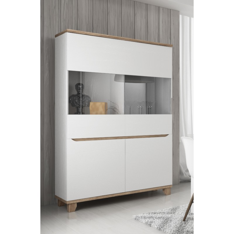 vitrine 2 portes lier style scandinave en blanc et bois. Black Bedroom Furniture Sets. Home Design Ideas