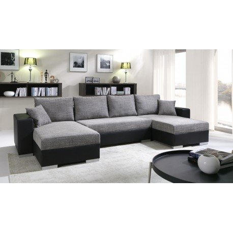 canap d 39 angle panoramique et r versible enno en tissu et simili cuir. Black Bedroom Furniture Sets. Home Design Ideas