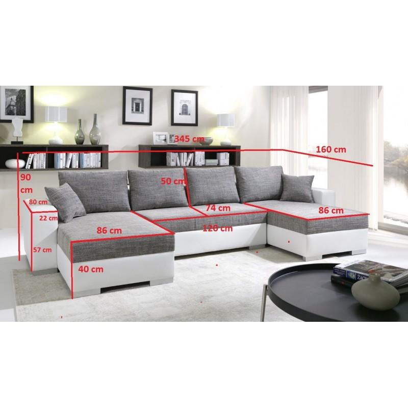 Canap d 39 angle panoramique et r versible enno en tissu et simili cuir - Dimensions canape d angle ...
