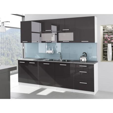 Cuisine compl te 2m60 laqu e grise tara design moderne for Cuisine complete moderne