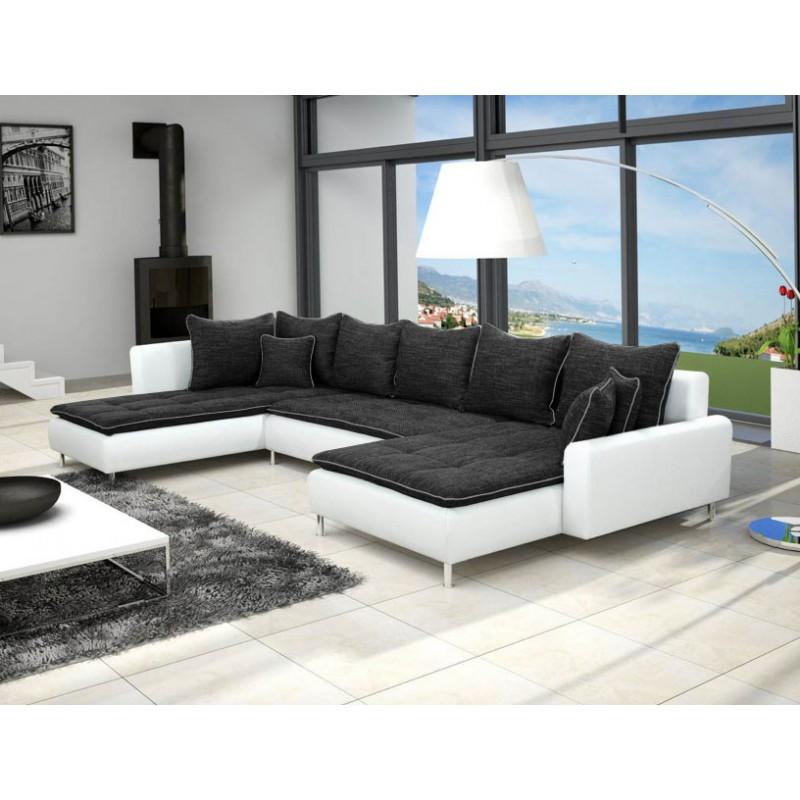 grand canap en u de 6 places dante en tissu et simili cuir gris et blanc. Black Bedroom Furniture Sets. Home Design Ideas
