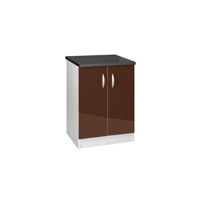Meuble de cuisine bas 2 portes 80 cm oxane laqu brillant for Meuble cuisine bas 2 portes