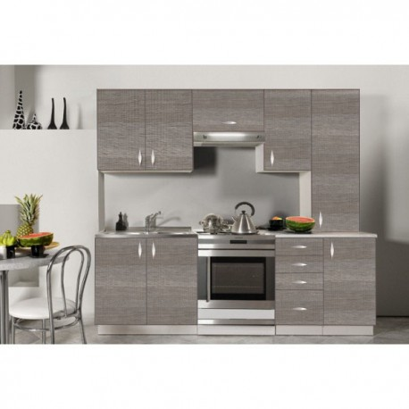 Cuisine compl te en bois gris 220 cm oxane for Cuisine complete prix
