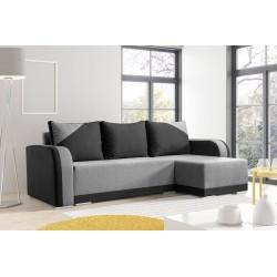 Canapé d'angle convertible ARIZO gris et noir studio
