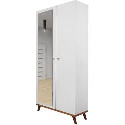 Armoire à portes battantes Felice 5 blanc pieds bois
