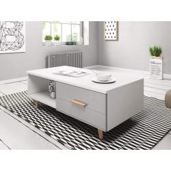 Table basse Sweden avec tiroir - Gris et blanc