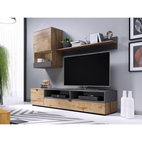 AROS - Meuble de télé style industriel noir, gris ou bois