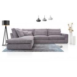 CORIA - Canapé d'angle en velours cotelé gris