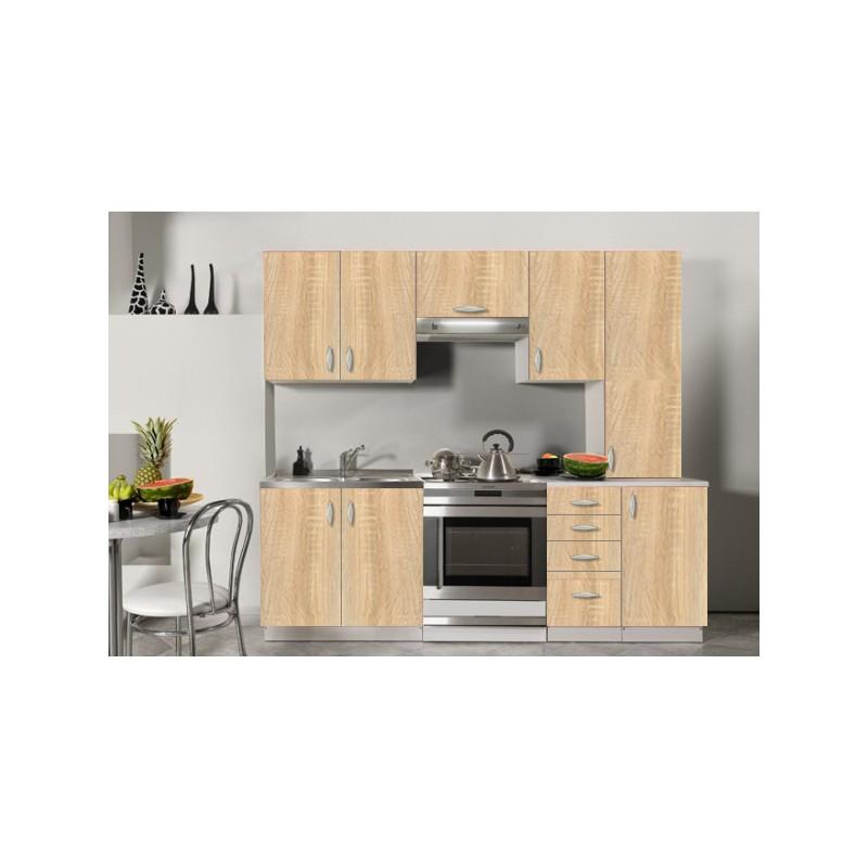 Cuisine compl te en bois gris 220 cm oxane for Cuisine gris bois