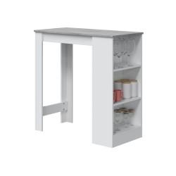 CALIA - Table haute bar avec étagère intégrée gris et blanc