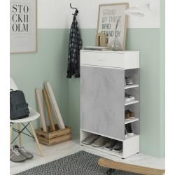 BETIA - Meuble à chaussures avec 1 tiroir gris et blanc