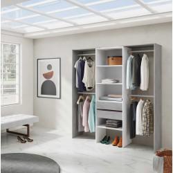 DRISIA - Armoire dressing avec étagères et 4 penderies gris et blanc