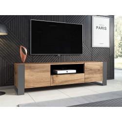 WODD Meuble TV Bas en chêne Anthracite et Pieds Gris 180 cm. Style Industriel