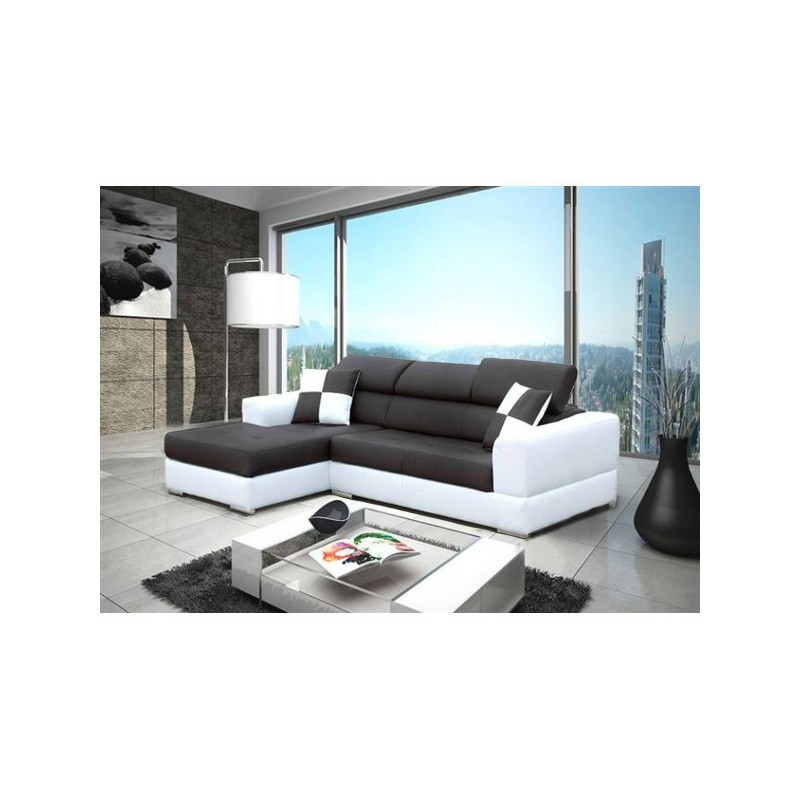 Canap d 39 angle 4 places neto madrid moderne design simili cuir tissu - Canape angle 8 places ...