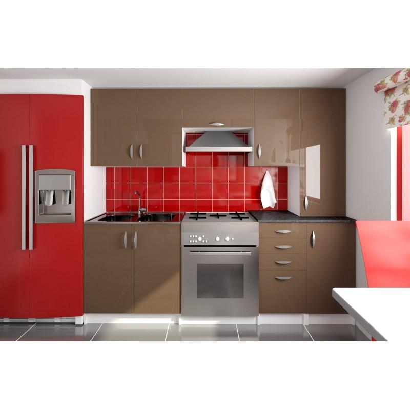 cuisine compl te 220 cm oxane laqu e brillant. Black Bedroom Furniture Sets. Home Design Ideas