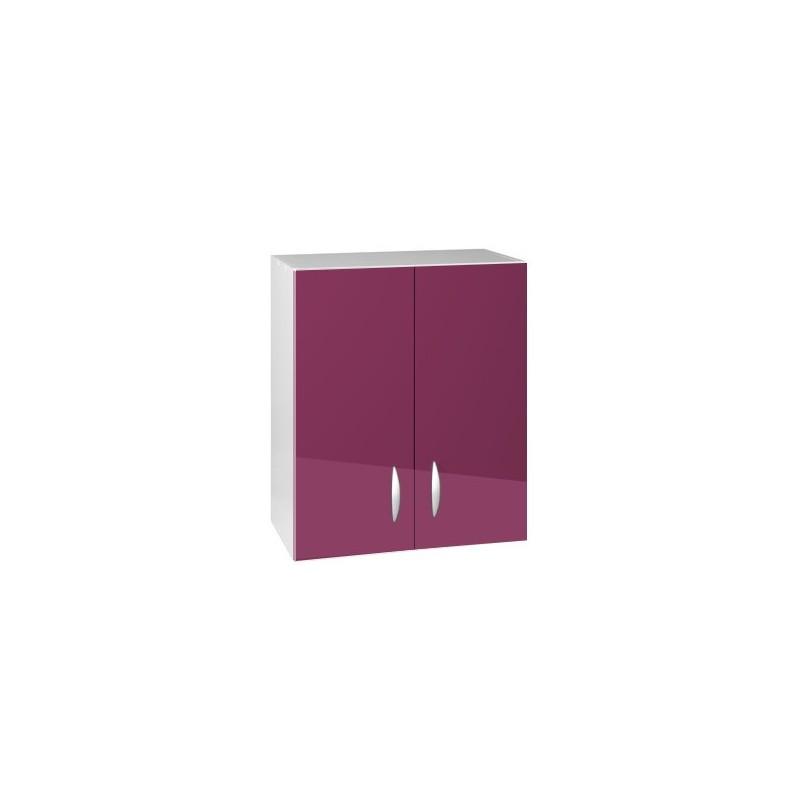 Meuble de cuisine haut 2 portes 60 cm oxane laqu brillant for Porte de 60 cm de large