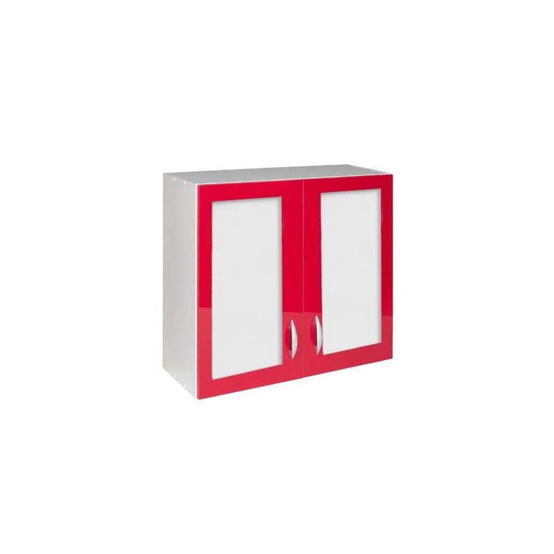 Meuble de cuisine haut 2 portes vitrines 80 cm oxane laqu - Meuble haut cuisine 80 cm ...
