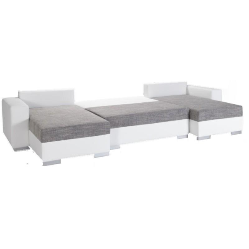 canap d 39 angle convertible en u avec double meridienne maille gris chin. Black Bedroom Furniture Sets. Home Design Ideas