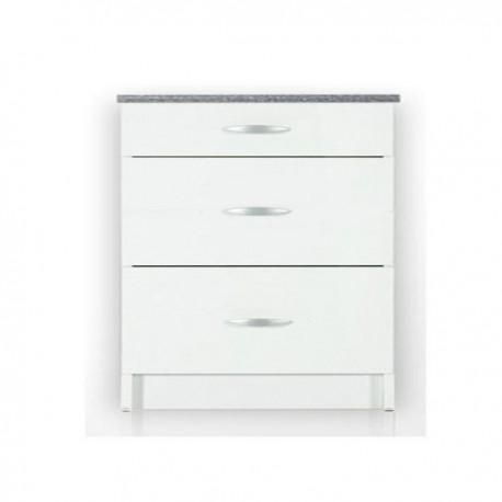 meuble cuisine bas 3 tiroirs 80 cm Casserolier OXANE