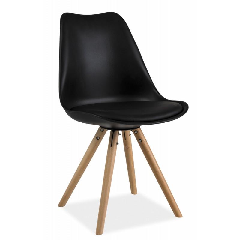 chaise pied en bois chaise design fil de fer et pieds en bois chaise coloris blanc avec pied. Black Bedroom Furniture Sets. Home Design Ideas