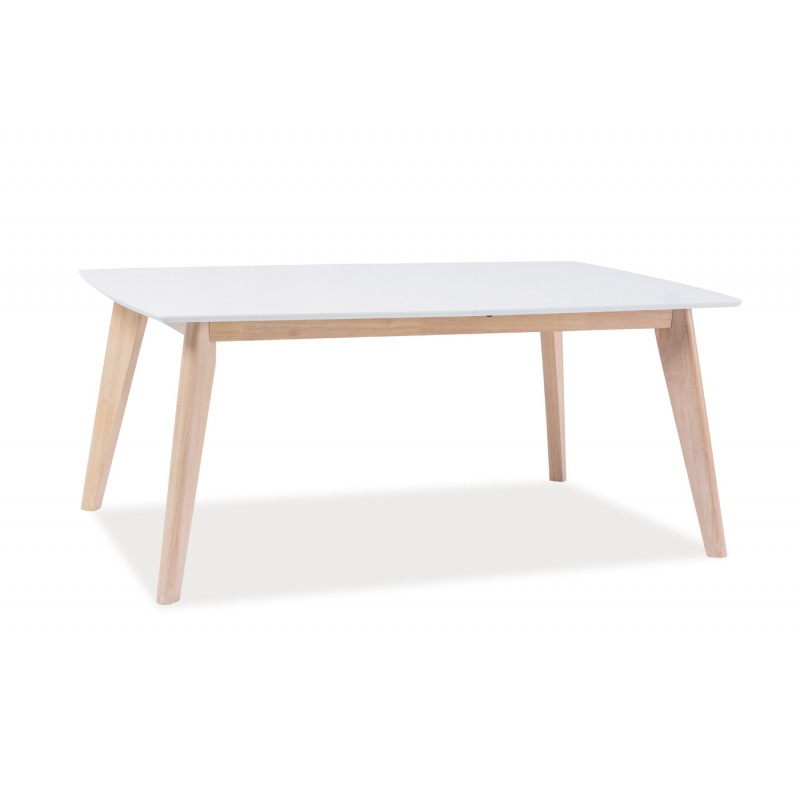 Table basse design scandinave combo 110 cm avec pied bois for Table rallonge scandinave