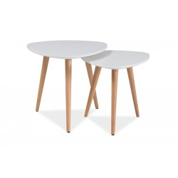 Ensemble Table basse scandinave NOLA lot de 2 blanc