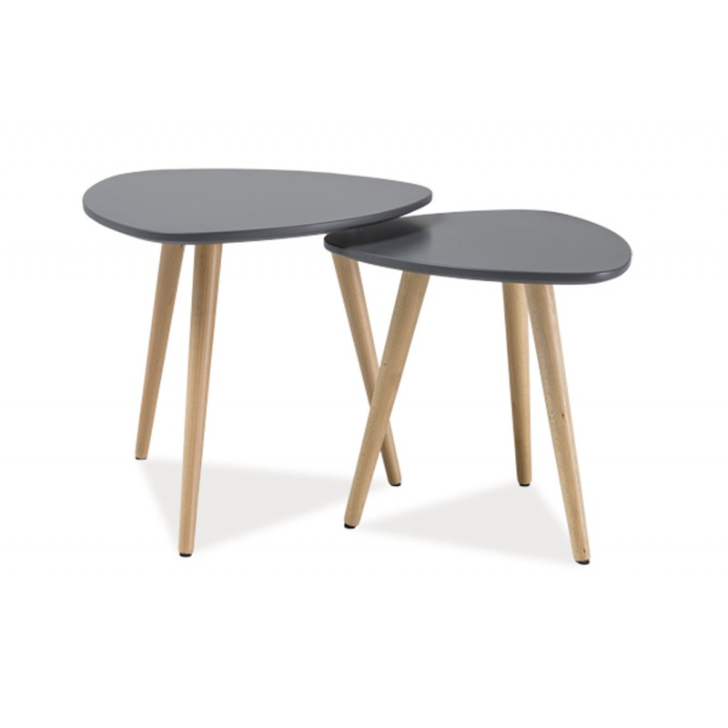 Ensemble table basse scandinave nola lot de 2 for Table basse grise scandinave
