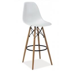 Tabouret de bar DSW style scandinave ENZO blanc pied bois