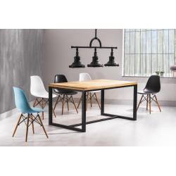 Table style loft industriel LORAS plateau hêtre pied en métal