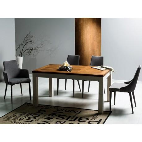 Table de salle à manger BESKID 150 cm plateau noyer et pied blanc
