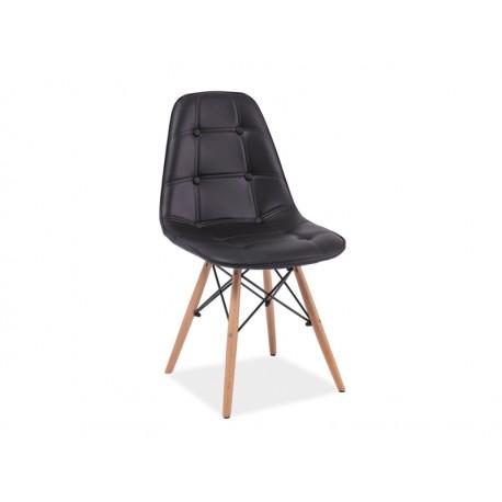 Chaise scandinave dsw AXEL aspect boutonné simili cuir noir pied bois