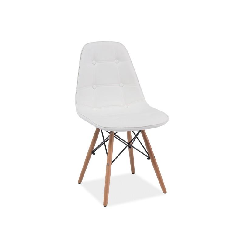 chaise scandinave dsw axel aspect boutonn simili cuir blanc pied bois - Chaise Scandinave Cuir
