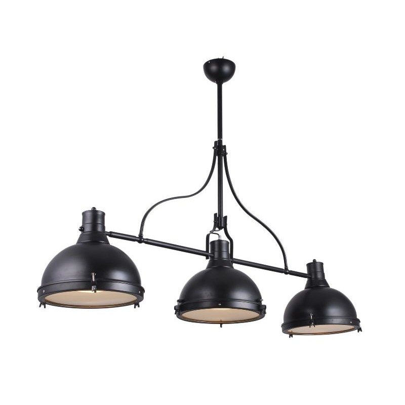 Suspension lumi re lampa style industriel noir avec 3 for Suspension metal cuisine