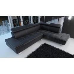 Canapé d'angle moderne DAYLON simili cuir noir coutures blanches tendance maison d'architecte