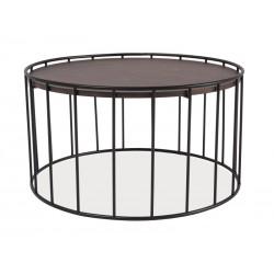 Table basse industrielle RENA plateau bois contour métal