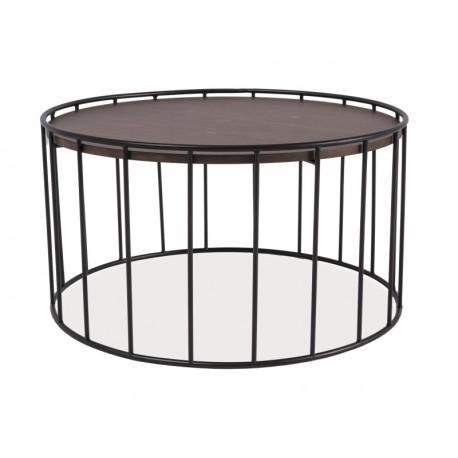 Table basse industriel RENA plateau bois contour métal