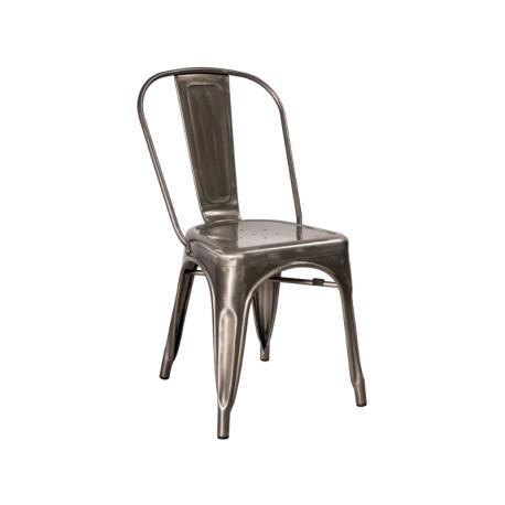 Chaise industrielle LOFT en métal brillant