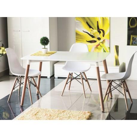 Table de cuisine 120 cm NOLAN scandinave blanc et bois