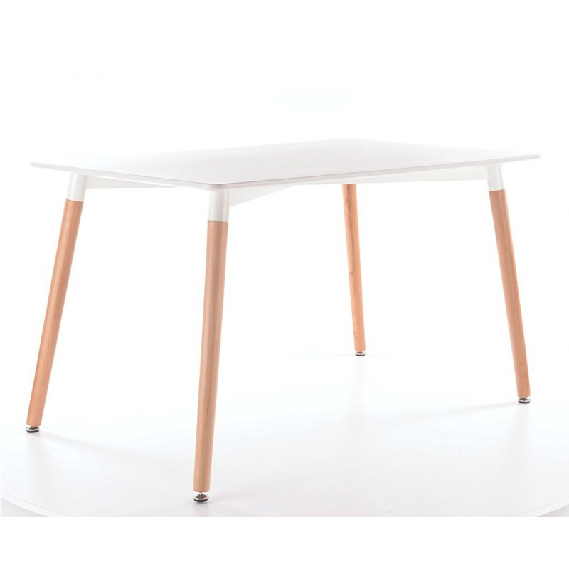 Table de cuisine 120 cm nolan scandinave plateau blanc for Pied de table scandinave